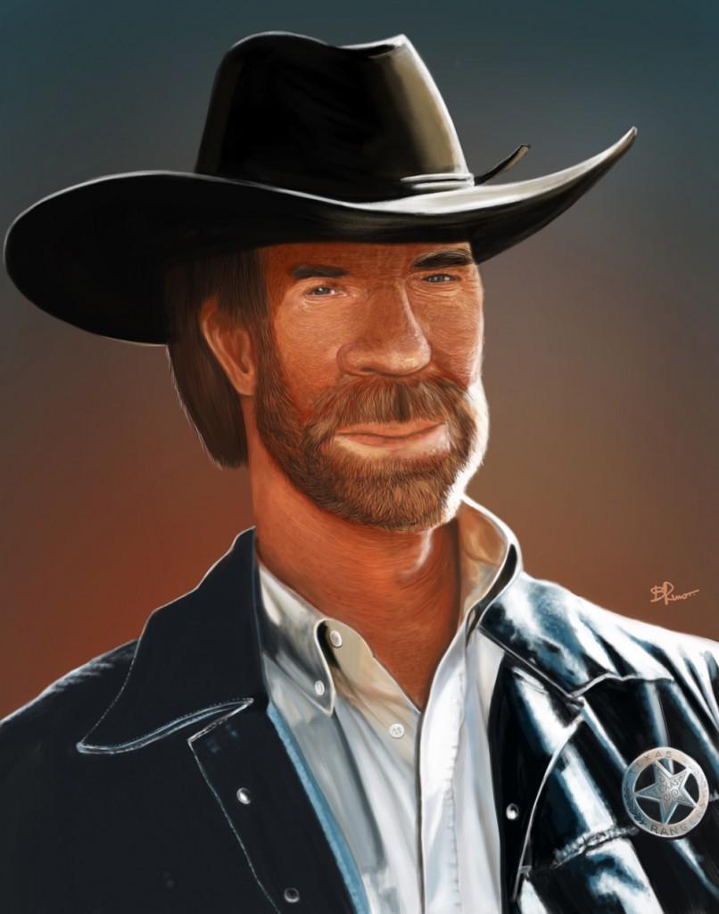 ilustração caricatura Chuck Norris